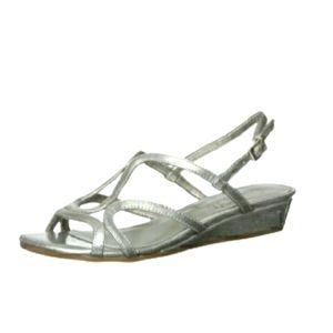"""Sam & Libby Silver Sandals """"Bedda"""" Wedge sz 6.5"""